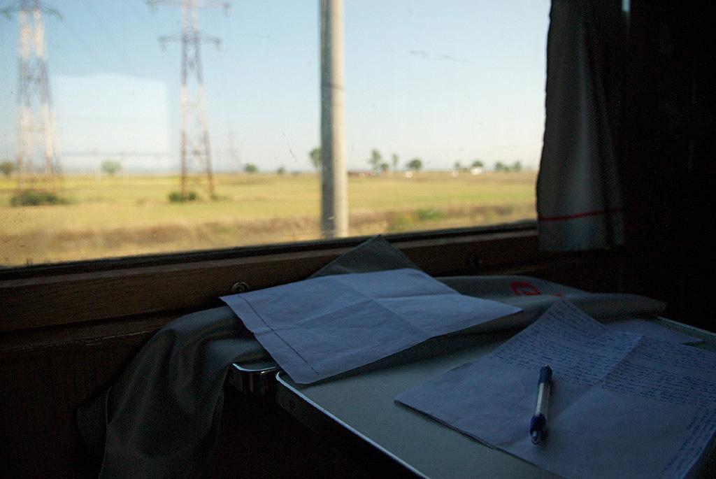 Schreibstube Zugabteil